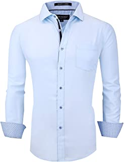 Mens Dress Shirts Wrinkle Free Regular Fit Stretch Bamboo Men Shirt