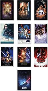 Star Wars: Episode I, II, III, IV, V, VI, VII, VIII, IX & Rogue One - Movie Poster Set (10 Full Size Movie Posters - Version 2) (Size: 24 x 36 inches)