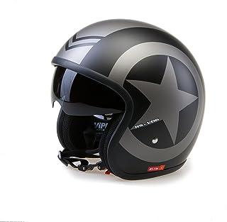 Viper Helmets Motorradhelm Rsv06, Matt Black Star, 61 62 cm