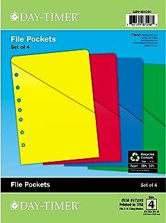 Day-Timer ColorLife Loose-Leaf Slash Pockets, Desk Size, 5.5 x 8.5 Inches, Assorted Colors, 4 Pack (87298)