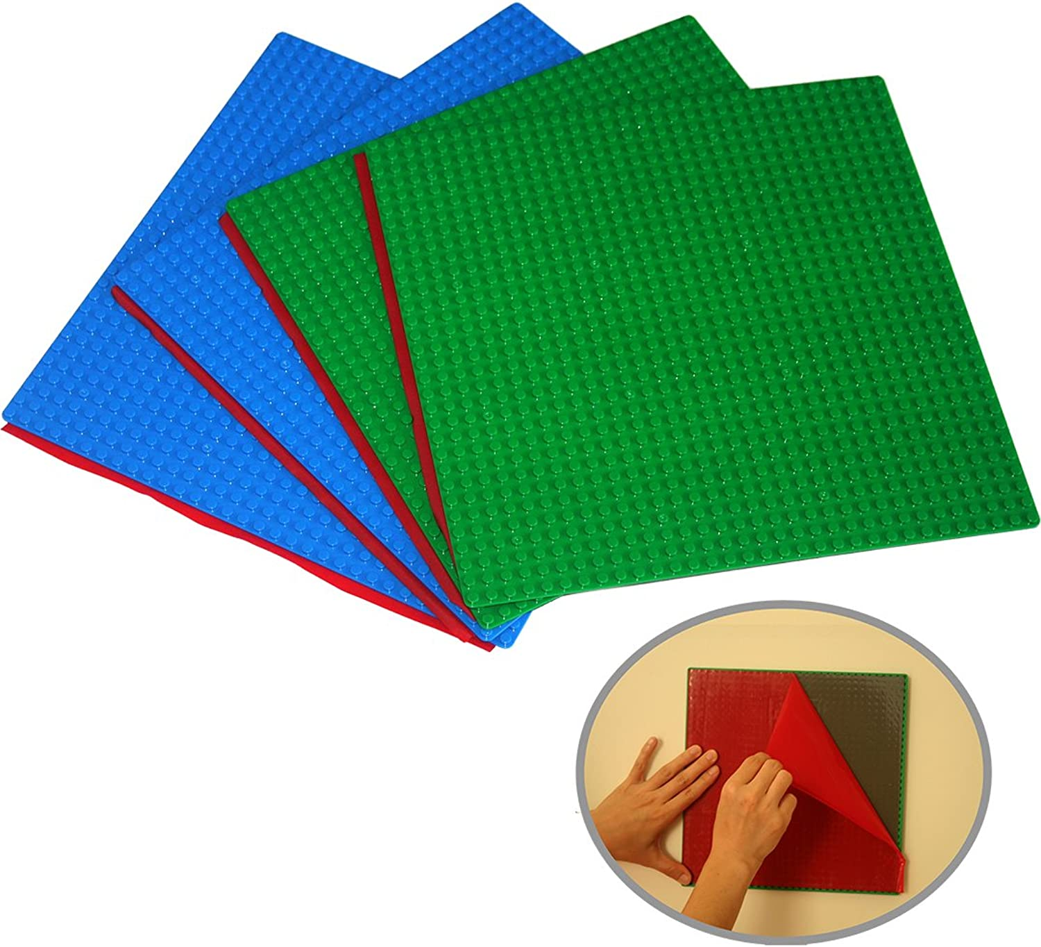 PeelandStick Self Adhesive Brick Building Base Plates  4 Pack (10 x10 ) Green+bluee baseplate  Fastest and Easiest DIY Play Table or Wall (2 Green +2 bluee Self Adhesive)