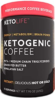 KetoLife Ketogenic Coffee, Supports Energy, Metabolism & Weight Management, 15 Servings