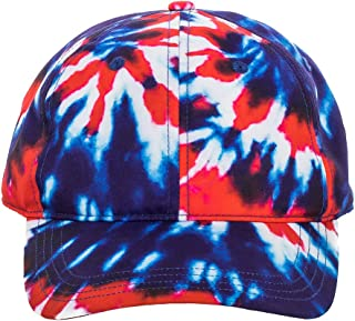 Red, White and Blue Tie-Dye Adjustable Snapback Hat