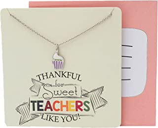 Teach Love Inspire Necklace with Sweet Cupcake Pendant for Women, Teacher Jewelry Thank You Greeting Cards