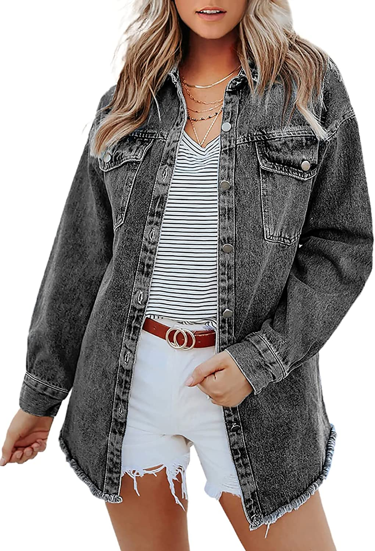 Bdcoco Womens Casual Button Down Denim Jackets Long Sleeve Oversize Boyfriend Jeans Jackets
