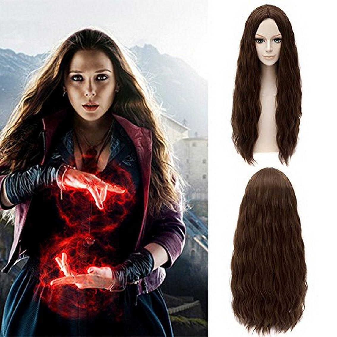 安定した家主世界記録のギネスブックXcoser Avengers Scarlet Witch Wanda Maximoff Cosplay Wig Brown Wavy Hair