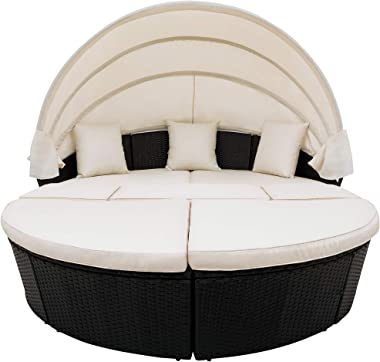 SIU All-Weather Sectional Sofa Set Outdoor Rattan Round Daybed Sunbed with Retractable Canopy,Black Wicker Furniture Clamshel