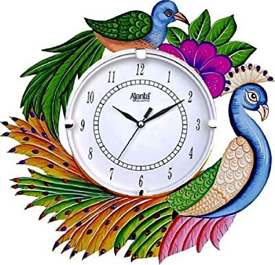CIRCADIAN Ajanta Peacock Wooden Wall Clock for Home Living Room Office (Multicolour, 13 x13 in)