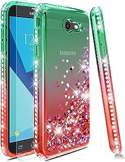Samsung Galaxy J3 Emerge Case/J3 Prime /J3 2017 /Amp Prime 2 /Express Prime 2 /Sol 2 /J3 Luna Pro /J3 Eclipse /J3 Mission Case with Screen Protector,Girls Women Cute Glitter Case Cover -Mint/Red