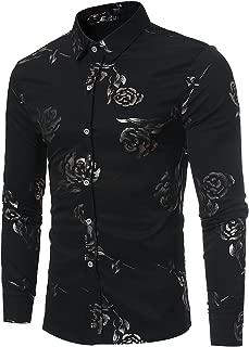 Mens Hipster Gold Rose Printed Slim Fit Long Sleeve Dress Shirts/Prom Performing Shirts