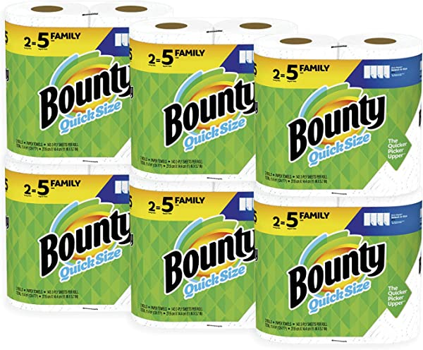 Bounty Quick Size Paper Towels White Family Rolls 12 Count Equal To 30 Regular Rolls