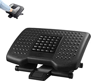 Gluckluz Foot Rest Under Desk Ergonomic Adjustable Height Foot Stool with Rollers for Office Home Foot Massage (46 * 34CM,...
