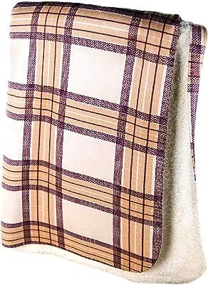 Stewart Plaid Nido Notte Italia Luxury Fringed Decorative Oversized Throw Blanket Toss Plaid Tartan Stripes Pattern in Shades of Red Blue Black White Yellow