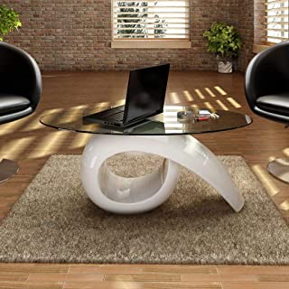 Coffee Table with Oval Glass Top High Gloss White Living Room Table 45.3