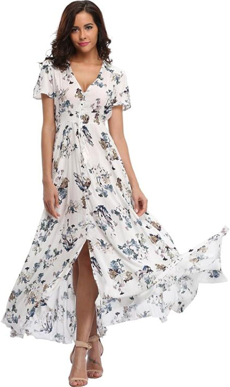 MKFSEOA Maxi Dress Floral Print Casual Split Beach Dress Retro Bohemian Party Dress