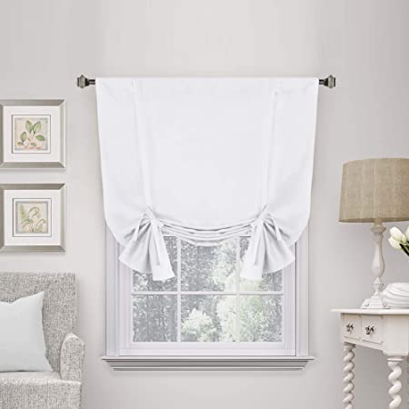"""Pure White Curtain Thermal Insulated Tie Up Window Shade Light Blocking Curtains for Bathroom, Rod Pocket Panel- 42"""" Wide by 63"""" Long"""