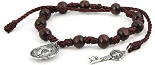 PRANA Adjustable Mini Rosary Wooden Beaded Bracelet with Benedictine Medal and Key