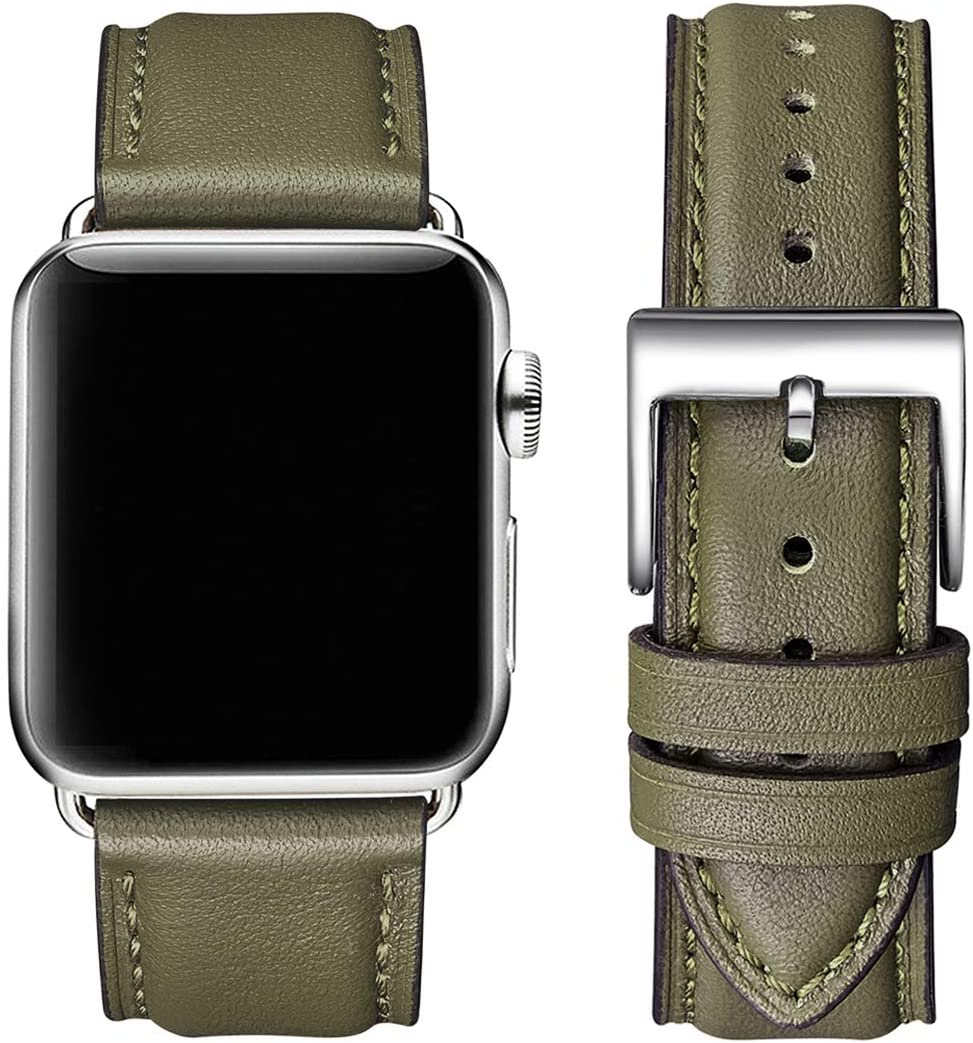 OMIU Square Bands Compatible for Apple Watch 38mm 40mm 42mm 44mm, Genuine Leather Replacement Band Compatible with Apple Watch Series 6/5/4/3/2/1, iWatch SE (Olive Green/Silver Connector, 42mm 44mm)