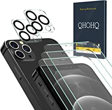 QHOHQ 3 Pack Screen Protector for iPhone 12 Pro 5G [6.1 Inch] with 2 Packs Tempered Glass Camera Lens Protector,Tempered G...
