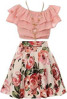 Aki_Dress Cold Shoulder Crop Top Ruffle Layered Top Flower Girl Skirt Sets for Girl