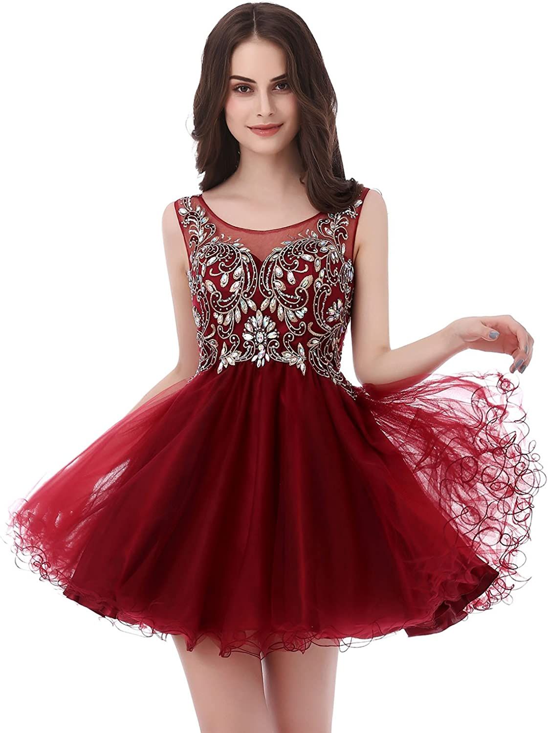 Sarahbridal Women's Short Tulle Beading Homecoming Dresses 2021 Prom Party Gowns