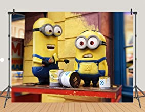 Cartoon Minions Theme Photography Backdrops Yellow Cartoon Animation Photo Background for Children Birthday Themed Party Baby Shower Cake Table Banner Studio Props Vinyl 5x3ft