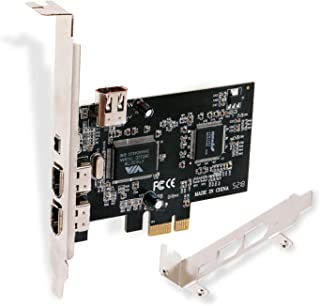 LinksTek PCIE FireWire Card for Windows 98/2000/2003/XP/Vista/7/8/8.1/10/Server Desktop PCs(32/64bit)-IEEE 1394A FireWire 400-6Pin X3 Ports and 4Pin X1 Port-Include Low Profile Bracket(PCIE-1394A)