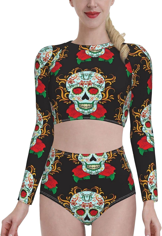Sugar Skull Dia De Los Muertos Womens Two Piece Swimsuit Long Sleeve Rash Guard Swimwear (p6)