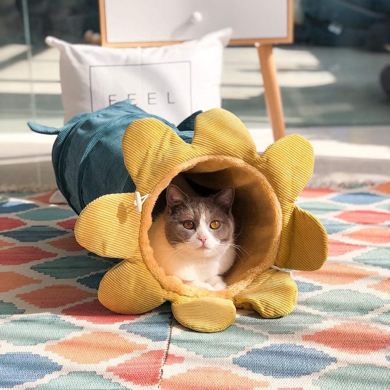 MSchunou Cat Drill cat Litter cat Litter, cat Supplies Channel Folding cat Vegetable cat Tunnel, Four Seasons Universal cat Tunnel, Tent cat Crawling (25  56cm) (color   Yellow)
