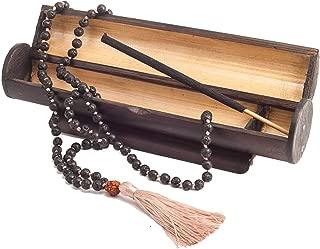 Buddhist Japa Mala Beads - Gemstone Buddha Necklace Blessed - 108 Tibetan Prayer - Healing Natural Lava Black Rock Stone Bracelet - Chakra Jewelry Meditation Yoga - Aromatherapy Bamboo Incense Box