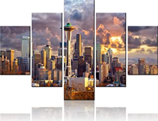 Extra Large Wall Art Framed Artwork Seattle Skyline at Sunset Mt. Rainier in the Background Pictures for Living Room 5 Panel Canvas Modern City Painting Home Decor Stretched Ready to Hang(60''Wx40''H)