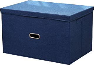 KLFD Boîte De Rangement en Coton Et Lin avec Couvercles, Bacs De Rangement Pliables Paniers De Jouets Boîtes avec Poignées...