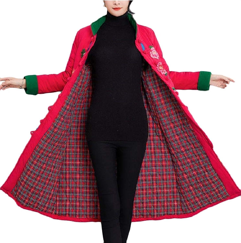 Yingshif Women Vintage Ethnic Style Frog Button Maxi Wadded Jacket