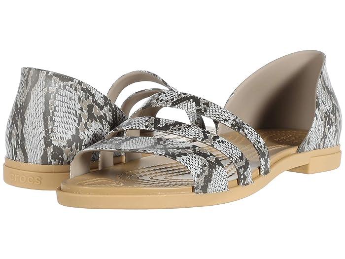 Crocs  Tulum Open Flat (Mushroom/Stucco) Womens Flat Shoes