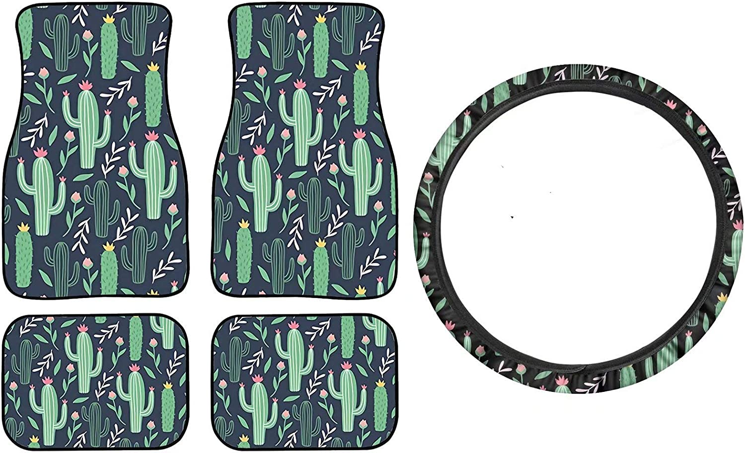 Freewander Set Cheap SALE Start of 5 Pieces Safety and trust Cactus Whee Car Print Floral Steering