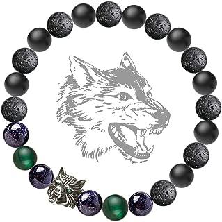 Karseer Viking Wolf Head Charm Healing Crystal Stress Relief Anti Anxiety Energy Stone Beaded Bracelet