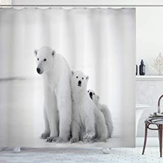 Ambesonne Sea Animals Decor Collection, Polar Bear Family with Two Small Bear Cubs Around Snow Cold Winter North Image Print, Polyester Fabric Bathroom Shower Curtain Set with Hooks, Light Gray