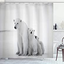 Ambesonne Sea Animals Decor Collection, Polar Bear Family with Two Small Bear Cubs Around Snow Cold Winter North Image Print, Polyester Fabric Bathroom Shower Curtain, 84 Inches Extra Long, Light Gray