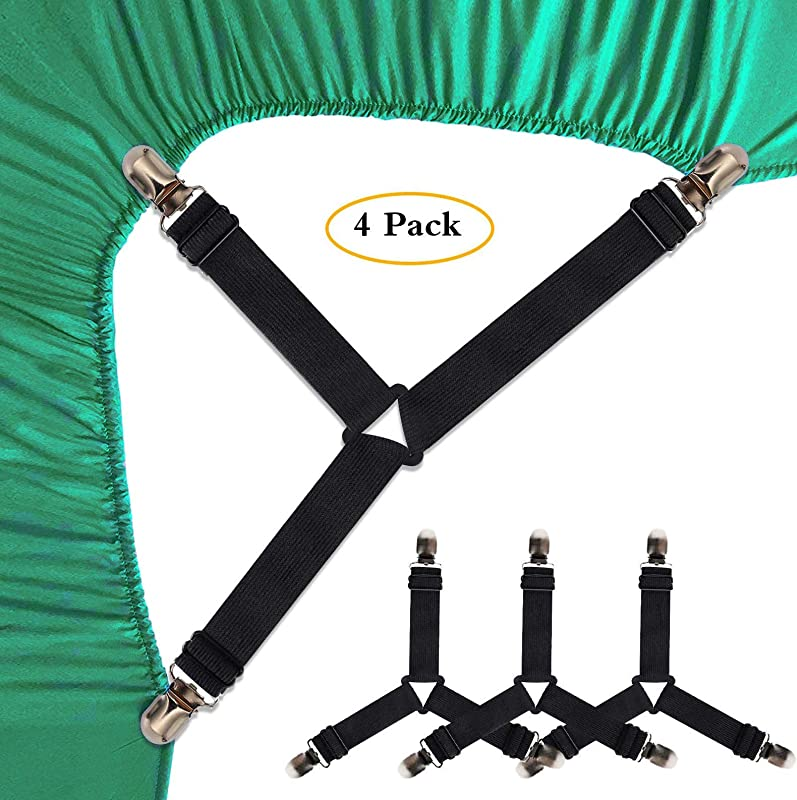 SEEOOR Bed Sheet Holder Straps Triangle Elastic Mattress Corner Clips 3 Way Fitted Bed Sheet Fastener Suspenders Grippers Heavy Duty For Bedding Sheets Mattress Covers Sofa Cushion 4 Pcs