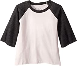 Extra Soft Jersey Flounce Sleeve Baseball Raglan Tee (Little Kids/Big Kids)