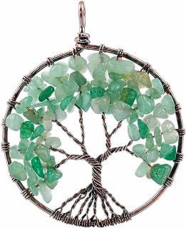 قلادة شجرة الحياة مصنوعة من كريستال الشفاء والاحجار الكريمة والنحاس المَطلي من مجوهرات النساء والرجال اليدوية من تومبيلوا
