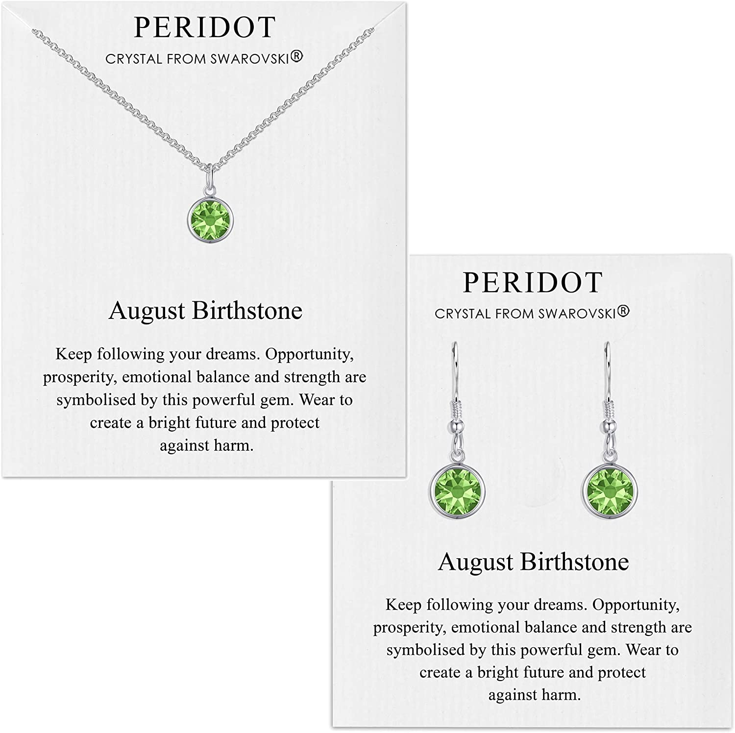 Philip Jones August (Peridot) Birthstone Necklace & Drop Earring Set Created with Austrian Crystals