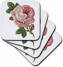 3dRose CST_115406_3 Vintage Pink Rose Floral Vignette-Ceramic Tile Coasters, Set of 4