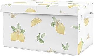 Sweet Jojo Designs Lemon Floral Girl Small Fabric Toy Bin Storage Box Chest For Baby Nursery Kids Room - Yellow Green Beig...