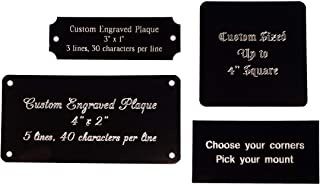 Stanley London Personalized, Custom Engraved Black Aluminum Plaque, Name Plate, Art Tag, Picture Frame Label, Trophy Award - Fixed or Custom Sizes