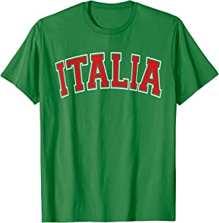 Italia Varsity Style Green with Red Text T-Shirt