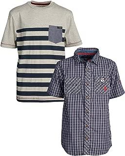 U.S. Polo Assn. Boys' Short Sleeve Woven Henley T-Shirt Set