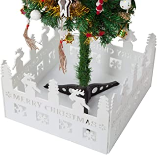 handrong Christmas Tree Fence White Decorative Xmas Tree Fencing for Home Garden Yard Office Decoration Gift Storage, Square