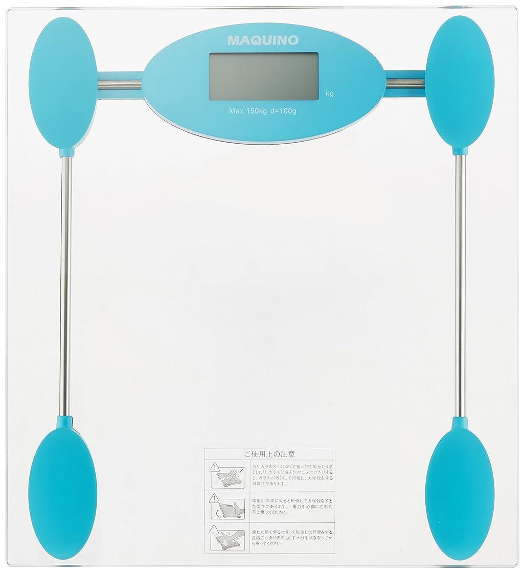 ぐったり広告器用MAQUINO デジタル体重計 ブルー YHB-5411LB4