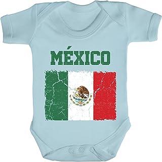 ShirtStreet Mexiko Fußball WM Fanfest Gruppen Fan Strampler Bio Baumwoll Baby Body kurzarm Jungen Mädchen Wappen Mexico